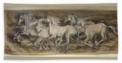 Beach Towel featuring the drawing Galloping Stallions by Debora Cardaci