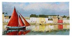 Galway Hooker Leaving Port Beach Towel