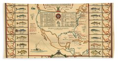 Game Fishing Chart Of North America - Game Fish Varieties - Illustrated Map For Anglers Beach Towel