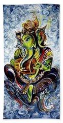 Ganesha Mridangam  Beach Towel