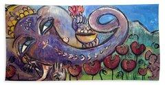 Ganesha With Poppies Beach Towel