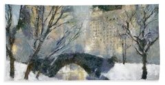 Gapstow Bridge In Snow Beach Sheet by Dragica  Micki Fortuna