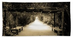 Garden Arbor In Sepia Beach Sheet by DigiArt Diaries by Vicky B Fuller