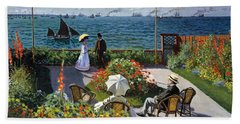 Garden At Sainte Adresse By Claude Monet Beach Sheet
