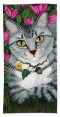 Beach Towel featuring the painting Garden Cat - Silver Tabby Cat Azaleas by Carrie Hawks