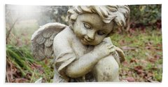 Spiritual Angel Garden Cherub Beach Towel by Belinda Lee