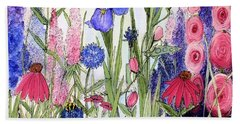 Garden Cottage Iris And Hollyhock Beach Sheet by Laurie Rohner
