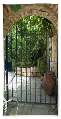 Beach Towel featuring the photograph Garden Door Entrance by Yoel Koskas
