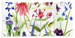 Garden Flowers Beach Sheet by Laurie Rohner