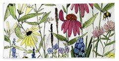 Garden Flowers With Bees Beach Sheet
