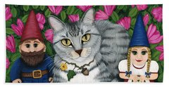 Garden Friends - Tabby Cat And Gnomes Beach Towel