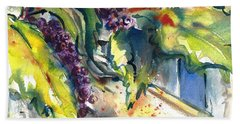 Garden Gate In Fall With Poke Berries  Beach Sheet