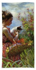 Beach Towel featuring the painting Garden Gatherings by Steve Henderson