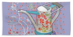 Beach Towel featuring the mixed media Garden Joys In Lovely Lavender by Nancy Lee Moran