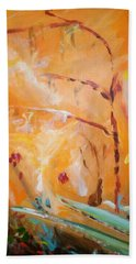 Beach Towel featuring the painting Garden Moment by Winsome Gunning