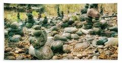Garden Of Rock Cairns At Buddha Beach - Sedona Beach Towel