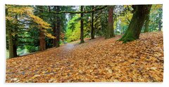 Beach Towel featuring the photograph Garden Path Covered In Autumn Leaves by Jit Lim