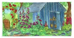 Beach Sheet featuring the painting Garden Potting Shed by Cathie Richardson