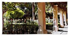 Beach Towel featuring the photograph Garden Promenade - San Fernando Mission by Glenn McCarthy Art and Photography