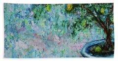 Beach Towel featuring the painting Garden Sleeping Cat by Xueling Zou