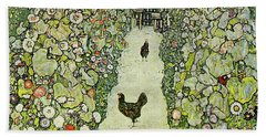Garden With Chickens Beach Sheet by Gustav Klimt