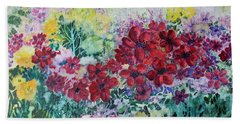 Beach Towel featuring the painting Garden With Reds by Joanne Smoley