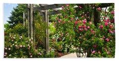 Garden With Roses Beach Towel
