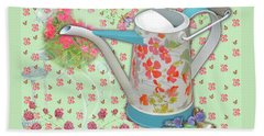 Beach Towel featuring the mixed media Gardening Gifts by Nancy Lee Moran