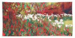 Gardens Of Spring - Tulips In Red And White Beach Sheet by Miriam Danar
