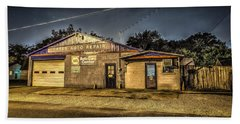 Beach Towel featuring the photograph Gates Auto Repair by David Morefield