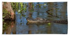 Gator In Cypress Lake 3 Beach Towel by Gregory Daley  PPSA