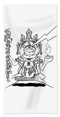 Gautama Buddha Black And White Beach Sheet