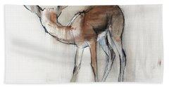 Gazelle Fawn  Arabian Gazelle Beach Towel by Mark Adlington