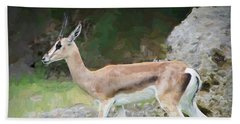 Beach Towel featuring the painting Gazelle Pose by Judy Kay
