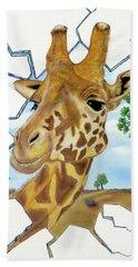 Beach Towel featuring the painting Gazing Giraffe by Teresa Wing