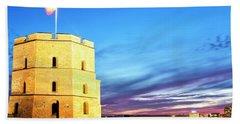 Beach Towel featuring the photograph Gediminas Tower by Fabrizio Troiani