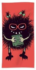 Geek Evil Bug Character Loves Reading Beach Towel