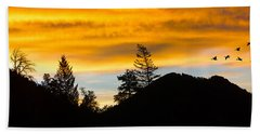 Beach Towel featuring the photograph Geese At Sunrise by Shane Bechler