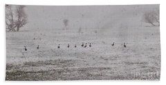 Geese During The Snow Storm Beach Towel