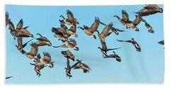 Geese In Flight Beach Sheet