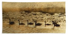 Geese On Golden Pond Beach Sheet