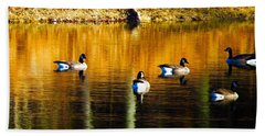 Geese On Lake Beach Towel