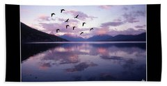 Geese Over Glacier Lake Poster Beach Sheet