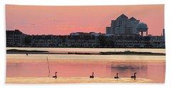 Geese Swimming On Isle Of Wight Bay Beach Towel