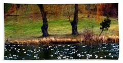 Geese Weeping Willows Beach Towel