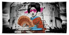 Beach Towel featuring the photograph Geisha Graffiti by Adrian Evans