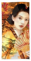 Geisha With Fan Beach Towel by Mo T