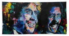 Beach Sheet featuring the painting Gene Wilder And Richard Pryor by Richard Day