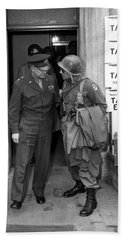 Beach Towel featuring the photograph General Eisenhower And General Ridgway  by War Is Hell Store