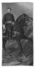 Beach Towel featuring the mixed media General George Mcclellan On Horseback by War Is Hell Store